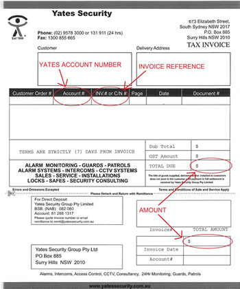 Yates Invoice Sample